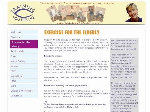 http://www.trainingyouforlife.com/exercise-for-the-elderly.php website